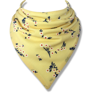 yellow bib with decorative flowers