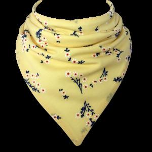 yellow bib with decorative flowers