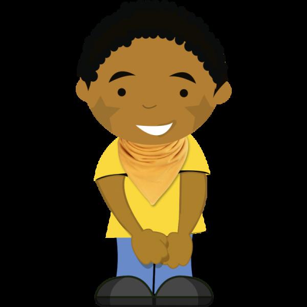 mustard bib on cartoon boy